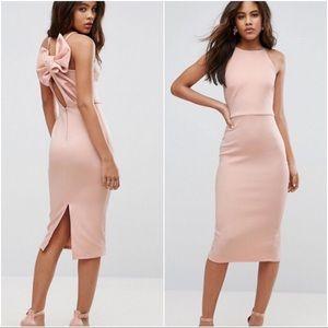 ASOS Pink Blush Bow Scuba Pencil Slit Midi Dress